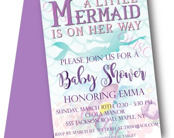 Mermaid Baby Shower Invitation - Printable File Only