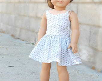 Blue Floral Wrap Dress for American Girl Dolls