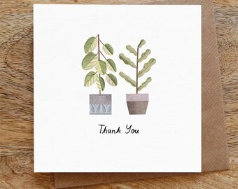 THANK YOU PLANTS - Greeting Card, Thank You, Thanks, Plants, Botanical, Green, Houseplants, Illustrated, Collage