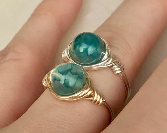 Women's Green Agate Wire Wrapped Ring // Green Agate Gemstone // Silver Ring // Gold Ring // Women's Ring // Agate Jewelry // ToHimFromHer
