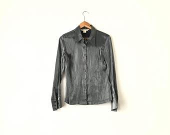 SILVER CLUB SHIRT // 90s // Womens Medium // Club Shirt // Club T-Shirt // Express // Silver Shirt // Shiny Shirt // Club Shirt // Silver