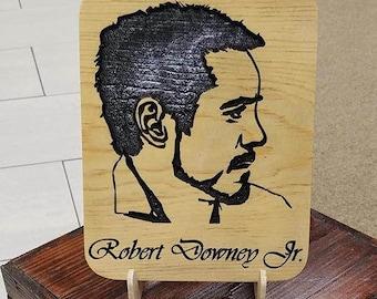 Robert Downey Jr. Engraved Plaque, Robert Downey, Jr., RDJ, Iron Man, Tony Stark, Robert Downey Jr. Art, Celebrity Art, Carved Wooden Sign