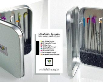 Needle felting case. Metal tin,box for felting needles -Blank hinged tin box,  FREE WITH PURCHASE of 12 or more needles