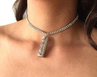 Handmade Silver Color Necklace Choker for Fitbit Flex 2 Tracker Fitbit Flex 2 Pendant Choker Fitbit Flex 2 Accessories Activity Tracker