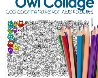 Owls Coloring Page Pdf Download Colouring Sheet Digital
