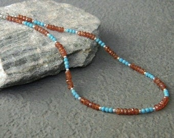 Turquoise Necklace, Hessonite Garnet Necklace, Faceted Gemstone Necklace, Southwestern Necklace, Gift for her, Choker, Blue Turquoise
