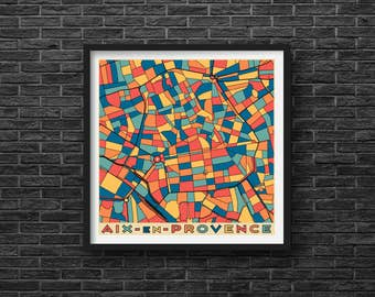 AIX-en-PROVENCE City Map - France - Giclee Fine Art Print - Abstract - Modern - Wall Art - Home - Office - Cote dAzur - Gift