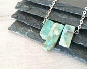 Amazonite Necklace - Natural Amazonite Slice - Raw Amazonite  - Rough Cut Gemstone Necklace - Birthstone Necklace - Raw Stone Jewellery