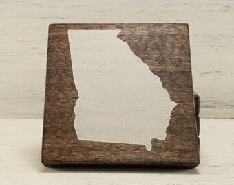 Pick State, Pick Color, Georgia Wood Coasters, Set of 4, Wedding Gift, Housewarming Gift
