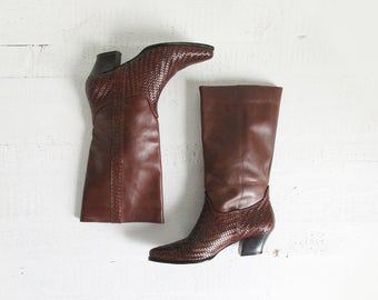 vintage woven leather boots / 90s tall brown low heel boots / womens 8.5