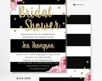 """Bridal Shower Invitation, Printable, Pink Peonies, Black and White Stripes, Gold Confetti, Floral Invitation, Personalized, Custom, 5"""" x 7"""""""