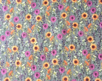 Floral Meadow Fabric Cotton Linen, subtle muted colour natural textile, exclusive design for cushions, curtains, fashion sewing project UK