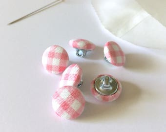 "1/2"" Fabric Covered Buttons {Set of 6}, Handmade Fabric Buttons, Small Buttons, Cover Buttons, Pink Gingham, Pink, White, Gingham"