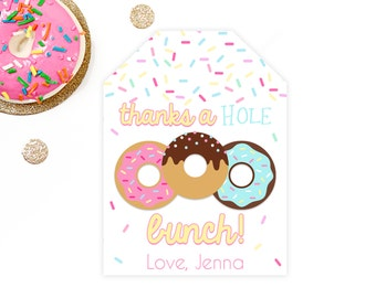Donut Favor Tags, Donut Party Favor Tag, Donut Birthday Favor Tags, Doughnut Party, Thank You Tags, Printable Personalized DIY Pink Gift Tag
