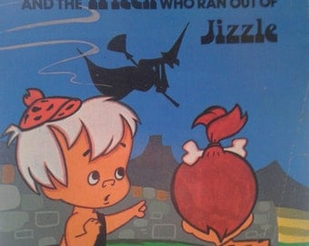 Pebbles and Bamm-Bamm and the Witch Who Ran Out of Jizzle, blue cover, vintage Flintstones book by Hanna-Barbera Fred Flintstone, Barney