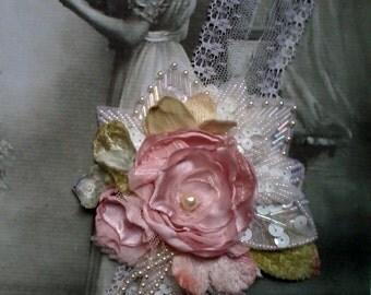 silk rose necklace, floral pendant necklace, handmade floral silk necklace, romantic wedding necklace, fairy necklace,