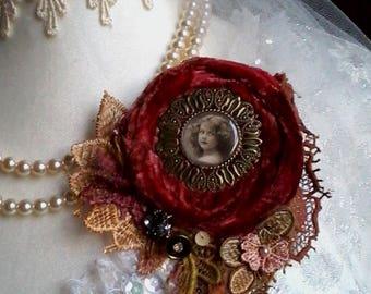 shabby portrait brooch. velvet tattered brooch, vintage girl pin, hand dyed brooch, boho,