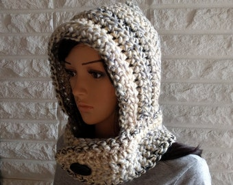 Women's chunky scoodie, cream hooded scarf, women's scoodie, hooded cowl, gifts for her, women's accessories, fall, winter, spring fashion