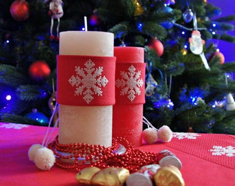 Christmas candle wrap Candle Accessories set Centerpiece Candles Decorations cross stitch snowflake red candle dressing handmade Christmas