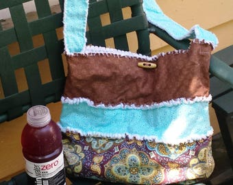 Small beach Tote, refashioned purse, Csmall hobo bag, upcycled shoulder purse/tote, upcycled messenger bag, upcycled book bag