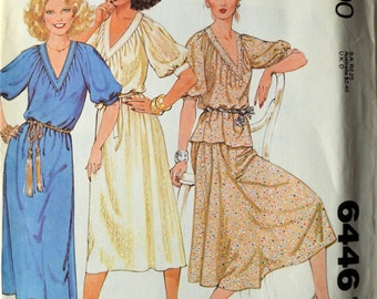 Uncut 1970s McCall's Vintage Sewing Pattern 6446, Size M; Misses' Dress or Top and Skirt