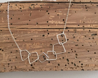 Asymmetrical Squares Necklace - Sterling Silver, Various Lengths, Choker