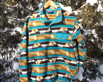 Majestic Patagonia Fleece Pullover 90s Fleece Sweater Synchilla Snap T Patagonia Mountain Peak Aztec Ikat Pattern 90s Ski Size Large Medium