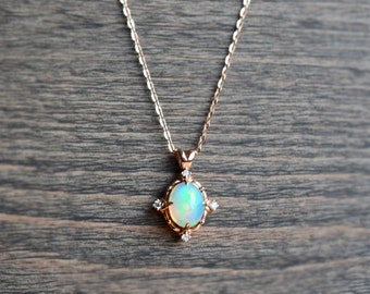 Victorian Oval Necklace in Opal, Ethiopian Fire Opal and Diamond Necklace, Available in 14K or 18K Solid Gold and Platinum, N1009S