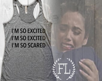 I'm So EXCITED, I'm So EXCITED, I'm So SCARED: Tank in Heather Grey/Black Ink, Saved By The Bell, Triblend crossfit Tank, Yoga, Jesse Spano