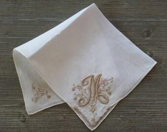 Vintage Monogram Hankie, Letter M, Embroidered Hankerchief, Wedding Memento