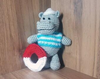 Crochet hippo Hippo toy Sailor gift Kids gift Gift for boy Plush hippopotamus Stuffed Hippo birthday gift Valentine Nursery Decor lifebuoy