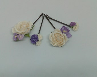 Purple and White Hair pins