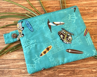 Quilted Zipper Bag in Teal Hawaiian Print Fabric Featuring Surf Boards and Panel Trucks, Small Lined Zipper Pouch for Toiletries or Travel