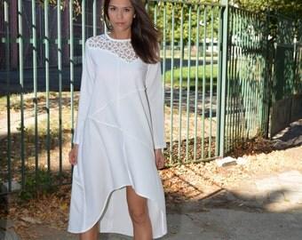 Plus Size Dress, White Kaftan Maxi Dress, Oversized Dress, Asymmetrical Dress, Long Sleeves Dress, White Cocktail Dress, Danellys D16.16.08
