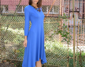 Winter Dress, Plus Size Dress, Stylish Womens Dress, Maxi Date Dress, Long Sleeves Dress, Blue Casual Dress, Spring Dress, Danelly D16.16.11