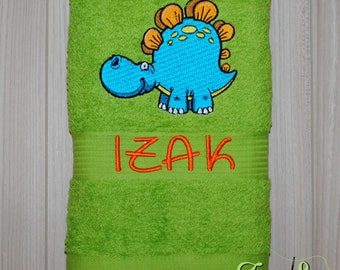 Personalized Bath Towel; DINOSAUR; Embroidered towel; Bath Gift; Personalized Gift; Bath Towel; Personalized Towel;Bath;Beach Towel;Birthday