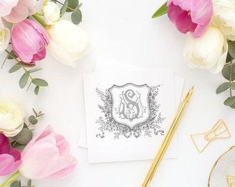 Wedding Monogram | Vintage Monogram - Wedding Logo, Monogram - Custom Wedding Monogram - MS or SM