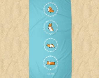 Blue Namaste Corgi Beach Towel | 30x60 or 35x60 in Printed Terrycloth Towel | Yogi Mandala Cobra Warrior Pose | Made to Order