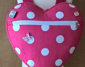 girl's pink polka dot heart backpack, school bag, day bag, holiday bag, with a matching coin purse