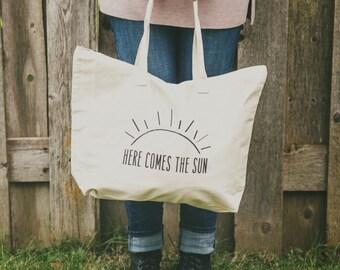 Farmer's Market Tote, Here Comes the Sun, Farmer's Market Bag, Canvas Tote Bag, Reusable Tote, Reusable Bag, Eco Friendly, Market Bag