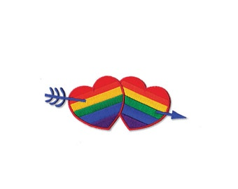 LGBT Patch - LGBT Heart and Arrow Embroidered Iron on Patch, LGBT Applique