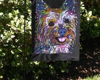 Yorkie Dog Dogs Black Garden Flag--Dean Russo Art