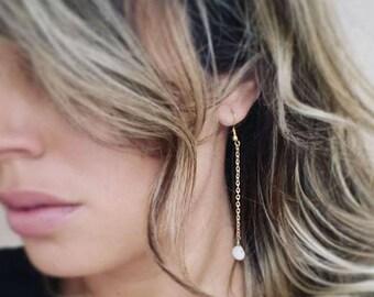 Minimalist Earrings, White Stone Earrings, Gold Chain Earrings, Long Earrings, Drop Earrings, Bohemian Earrings, Gift For Her, Bead Earrings