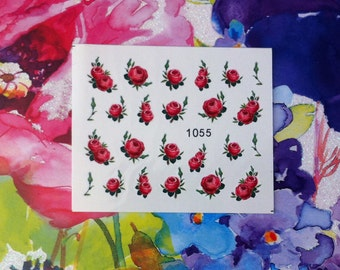 Assorted Pink Rose Bouquets Floral Flower Nail Decals Tattoo Water Transfer Wedding Bridal Bride Nature B155