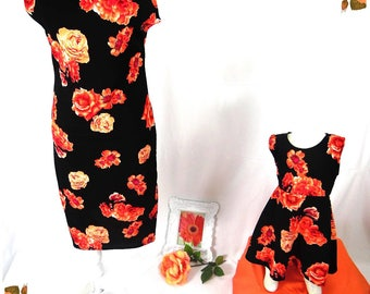 """Mother Daughter Matching Dress. """"Ella"""" coral and black floral pattern. Mommy and me fashion girls clothes baby girl dress"""