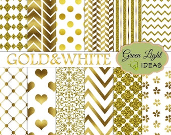 Gold and White Digital Paper, Bridal Digital Paper, Gold Wedding Printable Paper, New Years Digital Paper, New Years Gold Foil Digital Paper