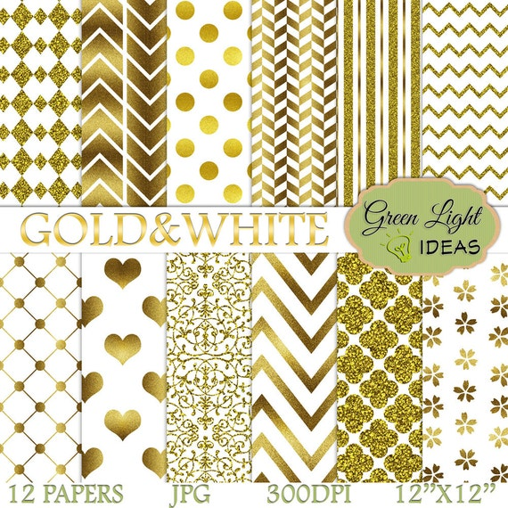 Gold White Digital Paper Pack New Year