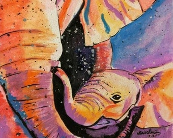 Elephant and Calf Painting,elephant painting,gifts for mom,paintings for nursery,gift under 50,baby nursery,baby animal,baby elephant