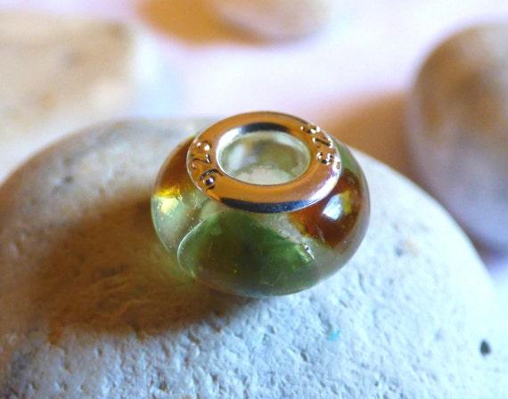 Charm Bead, Sea Glass Bead, Sea Glass Charm, Resin Bead, Resin Charm, Sea Glass Resin, Bracelet Charm, Green Sea Glass, Brown Glass- CZ16024