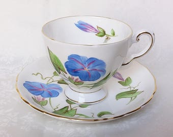 Tuscan Fine English Bone China Cup and Saucer, Vintage Blue Flowers Teacup and Saucer, Bone China Tuscan Footed Tea Cup